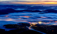 Hobart dawn with fog from Mt Wellington